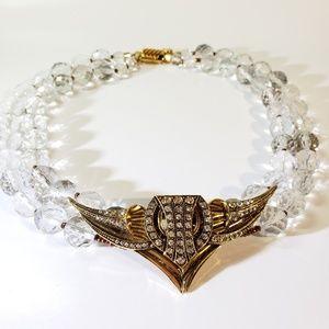 Vintage Ellelle Glass & Gold Modernistic Necklace